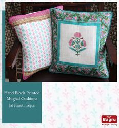 Block Printed Cotton Quilted Cushion Covers