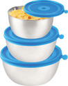 Bavol 3 Pc Container Set 350 Ml, 630 Ml, 1200 Ml Steel, Plastic Grocery Container