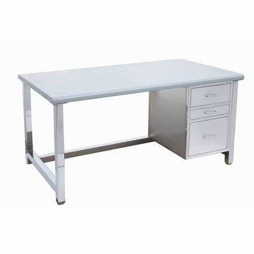 Silver Stainless Steel Office Desk