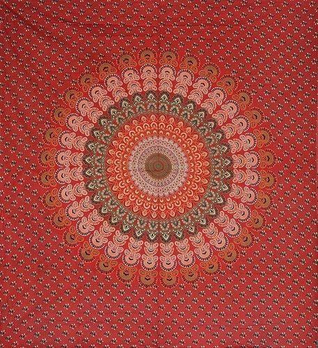 Red Mandala Print Tapestry