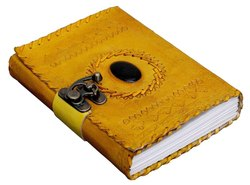 Handmade Leather Journal, Spellbook, Shadowbrook, Stone Journals, Journals with Lock, Handmade Paper