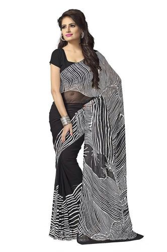 118d386b2d Georgette White & Black Printed Saree With Blouse Piece, Rs 230 ...