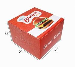 Red Printed Burger 5 x 5 x 3.5 Inch Small Boxes for Party/Birthday