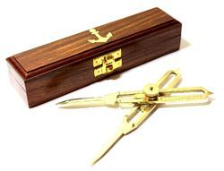 Solid Brass Proportional Divider Compass with Wooden Box
