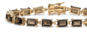 Emerald-Cut Genuine Smoky Quartz 14k Yellow Gold Plated Bracelet