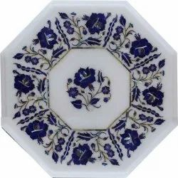 White Makrana Marble Stone Inlaid Dining Table Top
