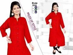 Red Color Ladies Check Rayon Kurti