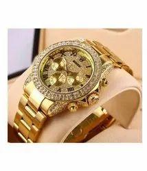 Analog Latest Rolex Golden Automatic Watch