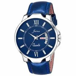 Jainx Blue Day And Date Round Dial Analogue Watch For Men & Boys JM302