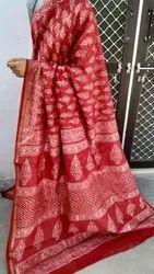 Casual Wear Handloom Chanderi Silk Saree with Zari, With Blouse Piece