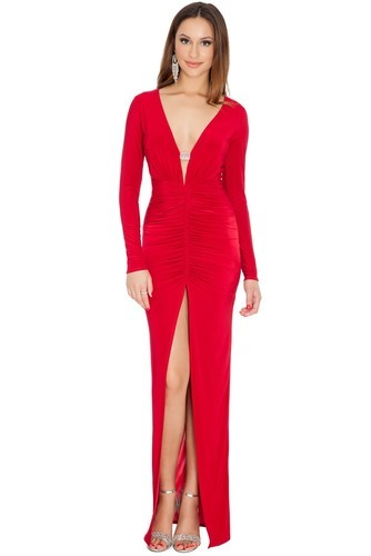 c792836f3634 Red Plunge Neck And Ruched Front Maxi Dress at Rs 1499  piece ...