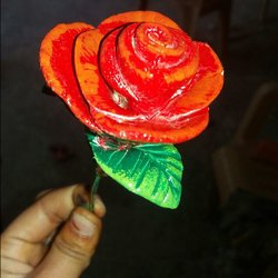 Red paper mainche Rose Flower, Size: 6 Inches