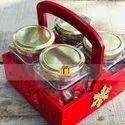 Gift Hamper Basket With Glass Jars