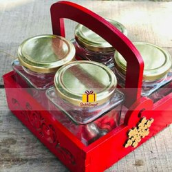 Shubhsaugat Red Gift Hamper Basket With Glass Jars, Size: 6*6inches