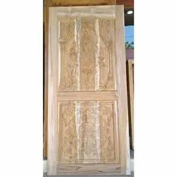 Hardwood Hinged Wooden Carved Safety Door, for Residential