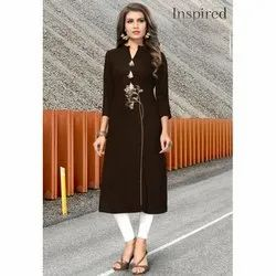 Brown Readymade Designer Casual Printed & Embroidered Kurti