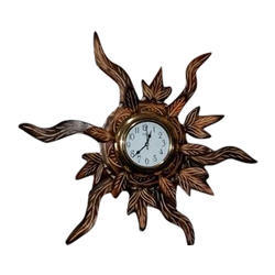 Brown Wood Wooden Antique Wall Clock