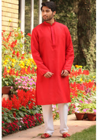 Flamboyant Red Large Manyavar Classic Red Kurta