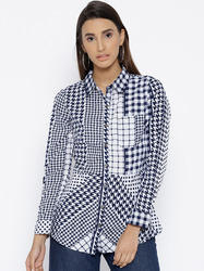 Women Poly Crepe Check Print Shirt with Pocket