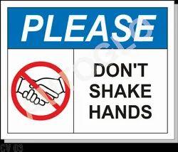 Corona Virus Signage: Please Don't Shake Hands