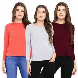 Round Casual Wear Ladies Full Sleeve T-Shirt