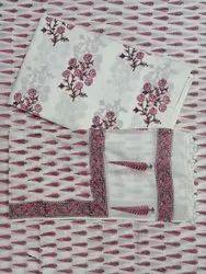 Floral Leaf Hand Block Printed Cotton Fabric Unstitch  Suit Set