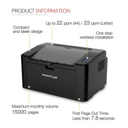 Pantum Lazerjet Printer, Model Name/Number: P2500W