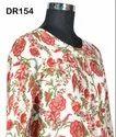 Cotton Hand Block Printed Women's Long Kurti Maxi Dress DR154