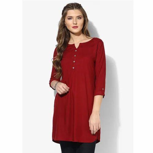4b43103e1e12d7 Ladies Red Office Wear Tops
