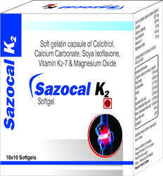 Soft Gelatin Capsule of Calcitriol Calcium Carbonate Soya Isoflavone Vitamin K2-7 and Magnesium Oxid