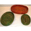 Bamboo Red And Green Cane Basket