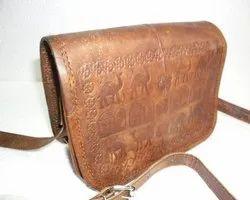 Embossed Curve Leather Sling Bag