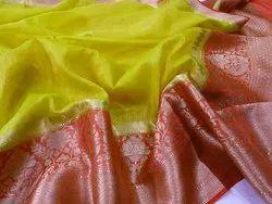 Banarasi Linen Handloom Saree with Blouse Piece