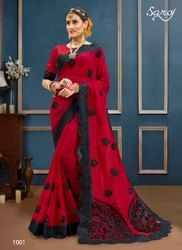 Red Fancy Ethnic Wear Sarees