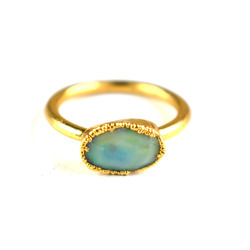92.5% Fire Opal Faceted Gemstone Gold Plated Ring
