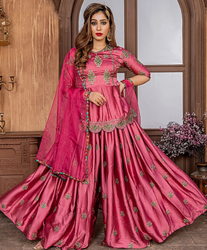 Embroidery Work Satin Bridal Sharara, Packaging Type: Packet