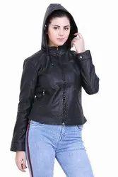 Solid Full Sleeve Ladies Leather Jacket