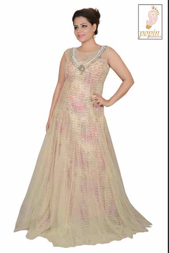 Cream Net Frill Gown With Printed Iner Rental Service At Rs 1500