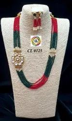 CL Jewellery Kundan Crystal Traditional Wedding Wear Necklace Set Manufacturer Direct