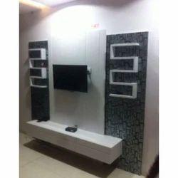 Brown Black Wooden Designer TV Cabinet