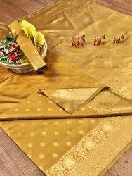 Banarasi Silk Casual Wear Mustard Saree With Blouse Piece