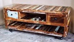 Resort Furniture - Reclaimed Vintage TV Stand - Hotel Bedroom TV Unit in Reclaimed Wood