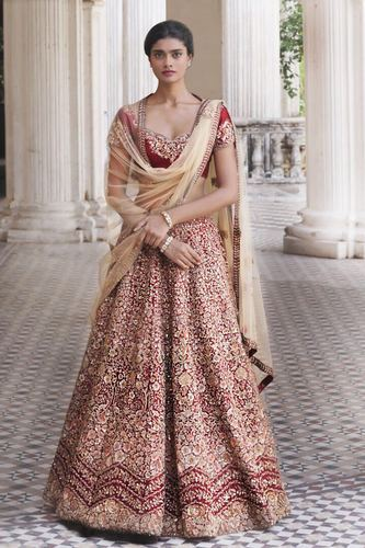 6c3a4a27aa Designer Wedding Wear Ruby Wine Colour Bridal Lehenga at Rs 3000 ...