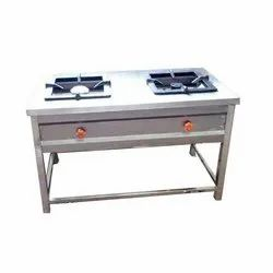 Silver Stainless Steel SS Two Burner Gas Stove, for Hotel