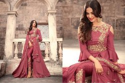 Georgette Indian Ethnic Designer Embroidered Bridal Long Gown