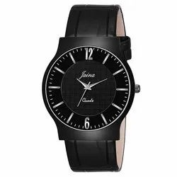 Jainx Black Slim Dial Analog Watch - For Men JM356