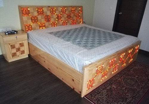 Pine Wood Double Bed With Light