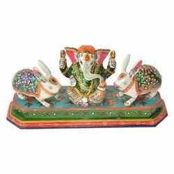 Metal Ganesha With Rabbit