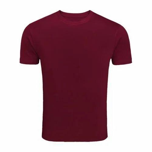 119cd1413 Men's Cotton Maroon Plain Casual T-Shirt, Size: M To XXL, Rs 139 ...