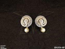 Dancing Peacock Shape American Diamond Earrings